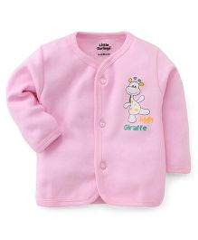 Little Darlings Thermal Vest With Jiggly Giraffe Print - Pink