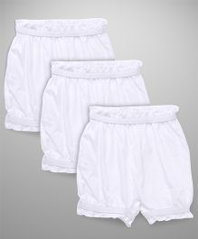 Bodycare Plain Solid Color Set Of 3 Bloomers - White