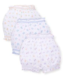 Bodycare All Over Floral Printed Set Of 3 Bloomers - White