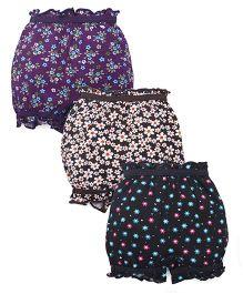 Bodycare Printed Bloomers Pack Of 3 - Black Navy Purple