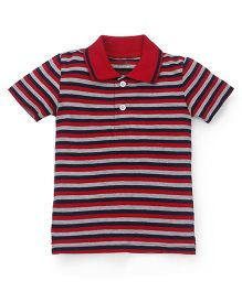 Babyhug Half Sleeves Stripe T-Shirt - Red Grey Black