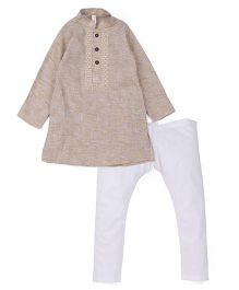 Lil' Posh Full Sleeves Kurta And Pajama - Beige White