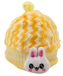 Tiekart Cute Rabbit Print Cap - Yellow