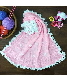 Magic Needles Classic Checkered Blanket With Embroidery - Pink