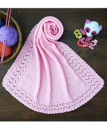 Magic Needles Classic Bordered Blanket - Pink