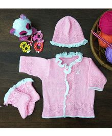 Magic Needles Classic Embroidery Sweater Cap & Bootie Set - Pink