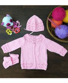 Magic Needles Classic Sweater Cap & Bootie Set - Pink