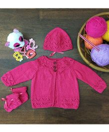 Magic Needles Classic Sweater Cap & Bootie Set Sweater - Dark Pink