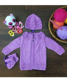 Magic Needles Classic Sweater Cap & Bootie Set Sweater - Purple