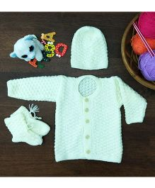 Magic Needles Classic Sweater Cap & Bootie Set Sweater - Off White