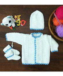 Magic Needles Classic Sweater Cap & Bootie Set Sweater - White