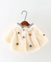 Awabox Fuzzy Coat With Tiny Flower - Beige