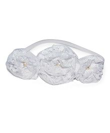 Bling & Bows Pearl Accent Elastic Headband With Divine Lace  - White