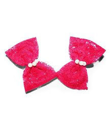 Bling & Bows Set Of 2 Lace Bow Hair Clips With Pearl Accent - Pink