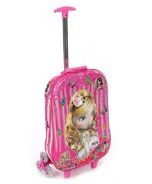 Luggage Trolley Bag Kitty And Floral Design - Pink