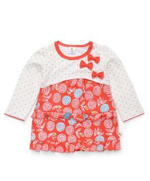 Cucumber Full Sleeves Frock Bow Appliques - White Coral