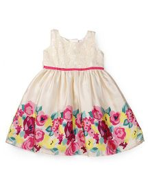 Doodle Sleeveless Party Wear Frock Floral Print - Beige Pink