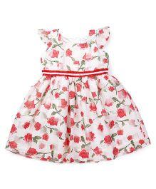 Doodle Flutter Sleeves Frock Allover Rose Flower Print - White & Red