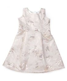Doodle Sleeveless Party Frock Self Design - Silver