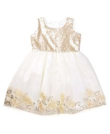 Doodle Sleeveless Frock Sequined Bodice And Floral Border - Golden