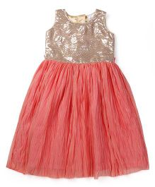 Doodle Sleeveless Frock Sequined Bodice - Coral