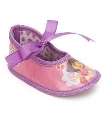 Dora Ribbon Detail Infant Booties - Pink & Purple