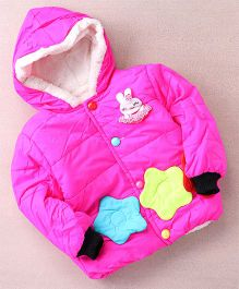 Superfie Bunny Floral Winter Hooded Jacket - Hot Pink