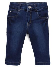 Babyhug Denim Capri With Firve Pockets - Deep Blue