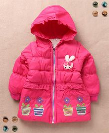 Superfie Bunny & Floral Patch Winter Hooded Jacket - Hot Pink