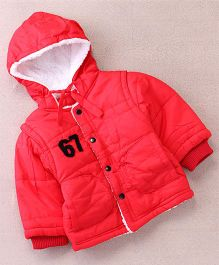 Superfie Buttoned Stylish Winter Hooded Jacket - Red