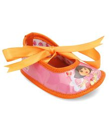 Dora Ribbon Detail Infant Booties - Pink & Orange