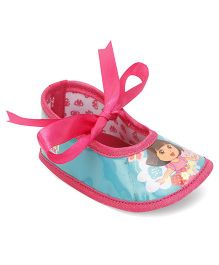 Dora Ribbon Detail Infant Booties - Pink & Sea Green