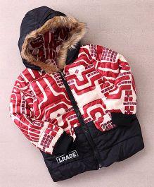 Superfie Robo Print Winter Hooded Jacket - Maroon