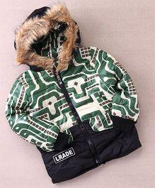 Superfie Robo Print Winter Hooded Jacket - Green