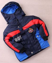 Superfie Printed Winter Hooded Jackets - Navy Blue & Red