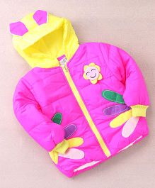 Superfie Sunflower Winter Hooded Jacket - Hot Pink