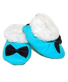 Snugons Cotton Booties With A Bow Applique - Sky Blue