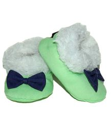 Snugons Cotton Booties With A Bow Applique - Sea Green
