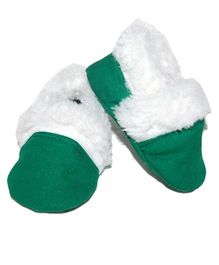 Snugons Cotton Booties With Fur Inner Lining  - Dark Green