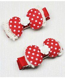 Asthetika Cute Little Polka Dots Hair Clips - Red & White