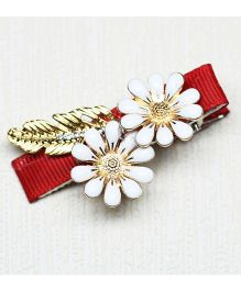 Asthetika Flowers With Long Leaf Hair Clip - Red & White