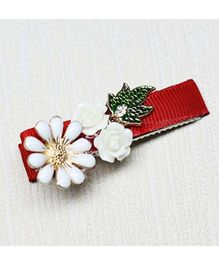 Asthetika Flowers With X-mas Leaf Clip - Red & White