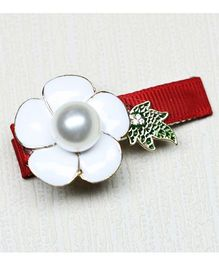 Asthetika Rose With X-mas Leaf Clip - Red & White
