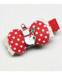 Asthetika Snowman On Polka Dot Bow Clip - Red