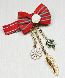 Asthetika Bow With X-mas Charms Hair Clip - Red