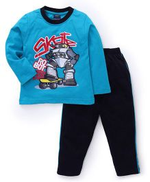 Taeko Full Sleeves Skate Robot Printed T-Shirt And Pajama Set - Blue Navy