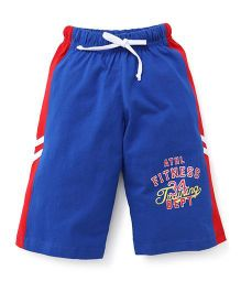 Taeko Three Fourth Bermuda Pants With Athletics Print - Royal Blue & Red