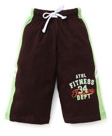 Taeko Three Fourth Bermuda Pants With Athletics Fitness Print - Brown & Green