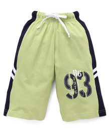 Taeko Three Fourth Bermuda Pants With 93 Print - Green & Navy