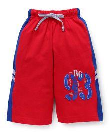 Taeko Three Fourth Bermuda Pants With 93 Print - Red Royal Blue
